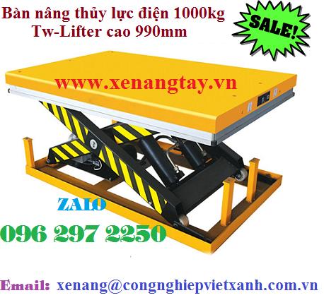Bàn nâng thủy lực điện 1000kg Tw-Lifter cao 990mm