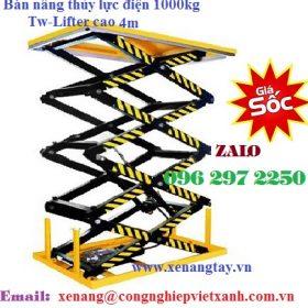 Bàn nâng thủy lực 1000kg cao 4m hiệu TW-LIFTER