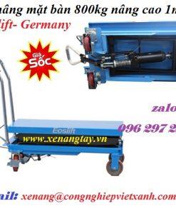 Xe nâng mặt bàn 800kg nâng cao 1m5 Eoslift- Germany