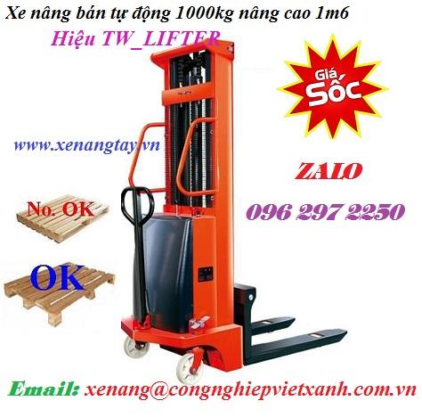 Xe nâng bán tự động 1000kg nâng cao 1m6 TW_LIFTER