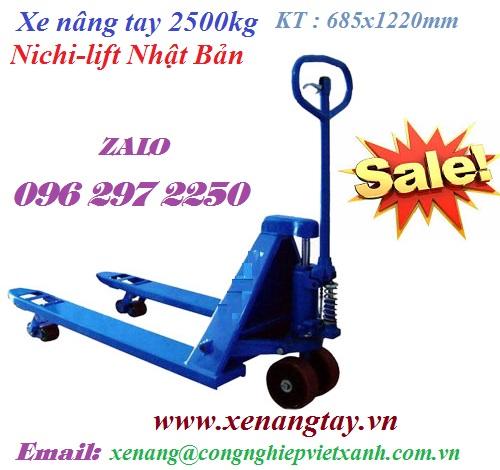 Xe nâng tay 2500kg Nichi-lift Nhật Bản ( 685x1220mm)
