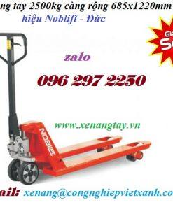 Xe nâng tay 2500kg hiệu Noblift - Đức càng rộng 685x1220mm