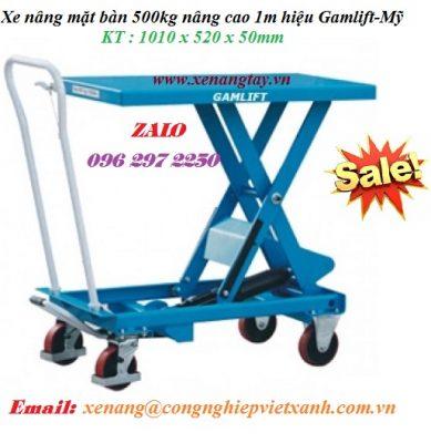 Xe nâng mặt bàn 500kg nâng cao 1m hiệu Gamlift-Mỹ
