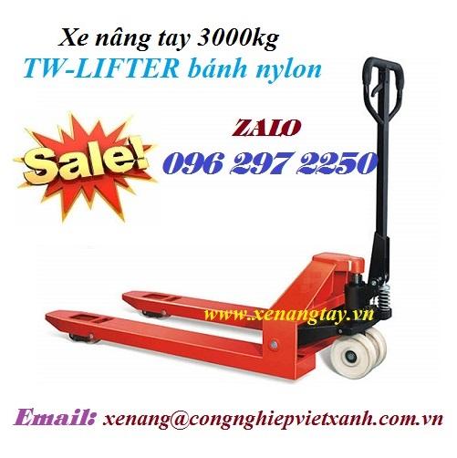 Xe nâng tay 3000kg (3.0 tấn) TW-LIFTER bánh nylon