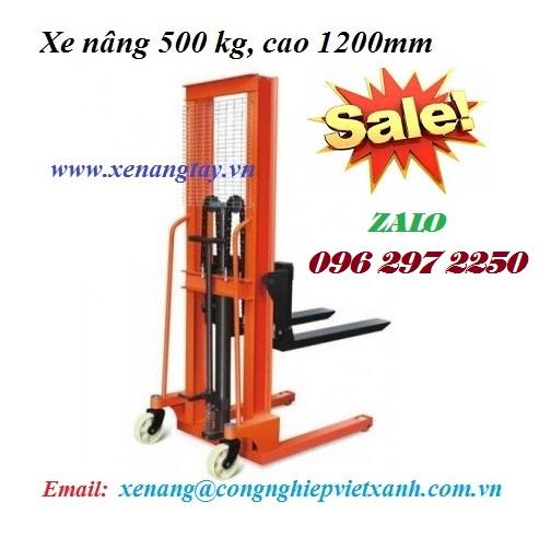 Xe nâng tay cao 500kg cao 1m2 lên xe tải