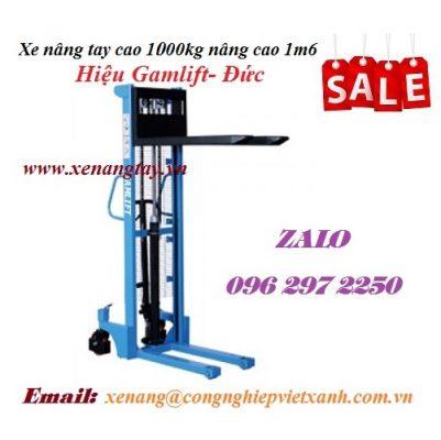 Xe nâng tay cao 1000kg nâng cao 1m6 Gamlift- Đức