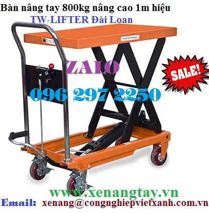Bàn nâng tay 800kg nâng cao 1m hiệu TW-LIFTER Đài Loan