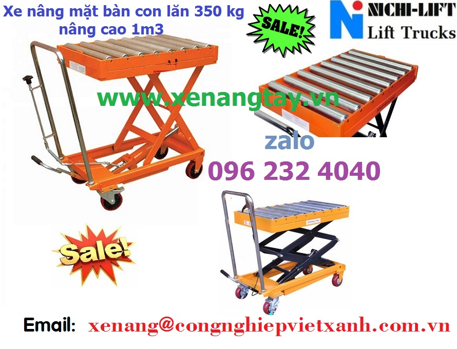 Xe nâng mặt bàn con lăn 350kg nâng cao 1.3 mét NAL35